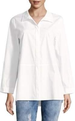 Lafayette 148 New York Zander Italian Stretch Cotton Blouse
