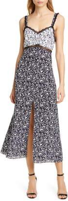 Tanya Taylor Sarita Pattern Mix Sleeveless Silk Midi Dress