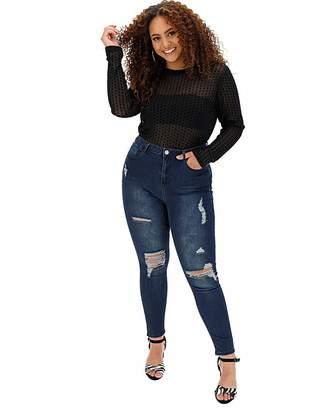 Chloé Simply Be Indigo Rip High Waist Skinny Jeans