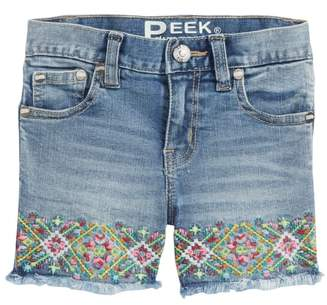 Peek Embroidered Frayed Hem Denim Shorts