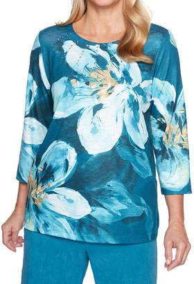 Alfred Dunner Victoria Falls 3/4 Sleeve Round Neck Floral T-Shirt-Womens
