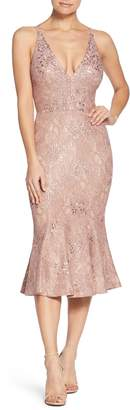 Dress the Population Isabelle Plunge Neck Lace Trumpet Dress