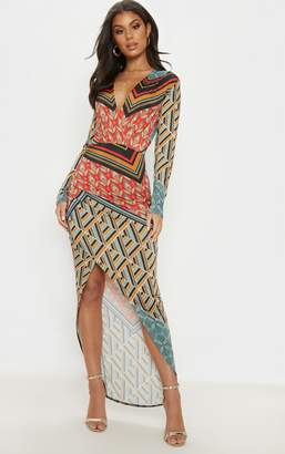 PrettyLittleThing Multi Printed Plunge Wrap Front Maxi Dress