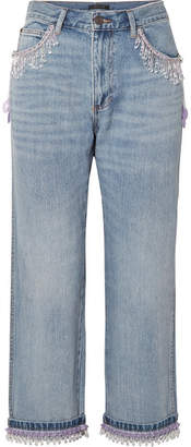Marc Jacobs Cropped Bead-embellished Boyfriend Jeans - Blue