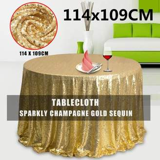"""Kadell 50x45"""" Rectangle Satin Tablecloth Wholesale Banquet Table Champagne Gold Glitter Sparkly Fabric Cover for Kitchen Dining Catering Wedding Birthday"""