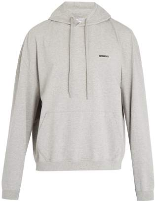 Vetements Logo-embroidered cotton hooded sweatshirt