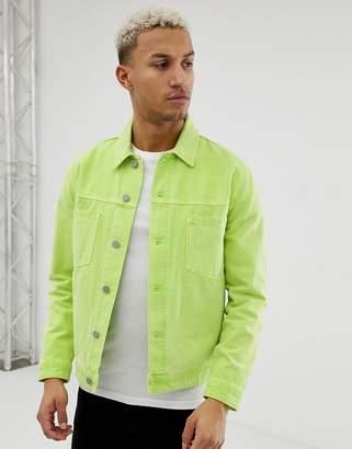Asos Design DESIGN fluro denim jacket in green