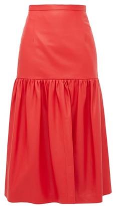 Christopher Kane Gathered Leather Midi Skirt - Womens - Red