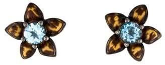 MCL by Matthew Campbell Laurenza Blue Topaz & Leopard Enamel Floral Stud Earrings