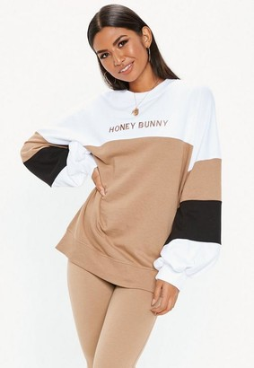 Missguided White Colour Block Honey Bunny Sweatshirt