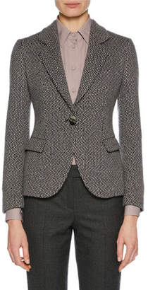 Giorgio Armani One-Button Woven Cashmere Novelty Jacket