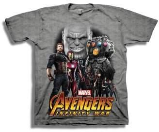 Avengers Infinity War Boys' Superhero Line-Up with Thanos Short Sleeve Graphic T-Shirt
