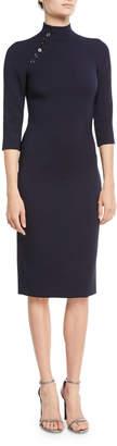 Ralph Lauren Matilda Turtleneck 3/4-Sleeve Wool Midi Dress