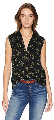 Lucky Brand Women's Ditsy Button UP Tank TOP