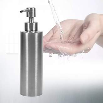 Qiilu 350ml Stainless Steel Soap Dispenser Kitchen Sink Soap Lotion Liquid Pump Dispenser Shampoo Box Soap Container for Kitchens and Bathrooms