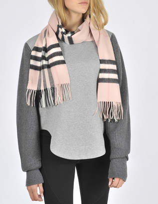 Burberry Giant Icon Check Cashmere Scarf in Ash Rose Cashmere