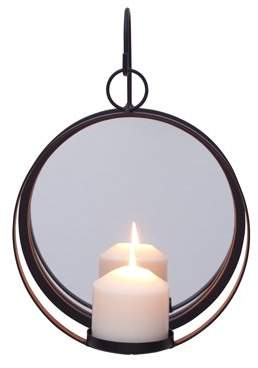 Danya B. Round Wrought Iron Pillar Candle Sconce with Mirror Rustic Metal Hanging Wall Candleholder