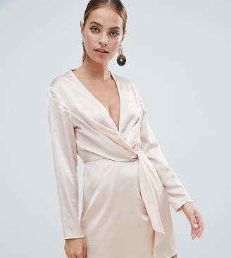 Missguided Tall Petite Plunge Satin Mini Dress