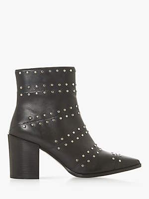 Dune Pose Stud Embellished Ankle Boots, Black Leather
