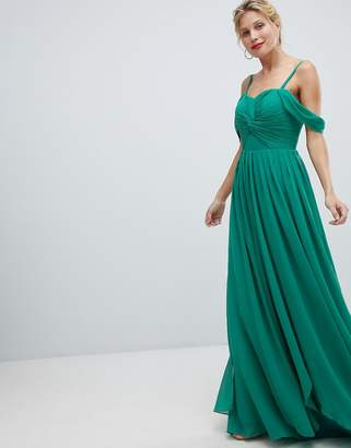 Y.A.S Floaty Maxi Dress With Cold Shoulder