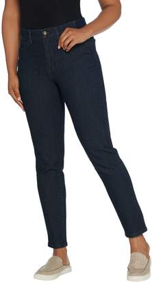 Denim & Co. Perfect Denim Slim Straight Ankle Jeans w/ Rib Waistband