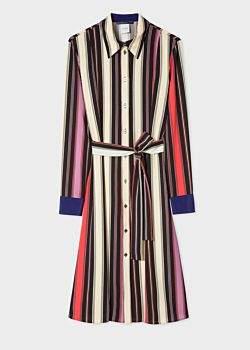 Women's Black Stripe Crepe Finish Shirt Dress