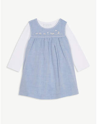 The Little White Company Embroidered pinafore dress and bodysuit set 0-24 months