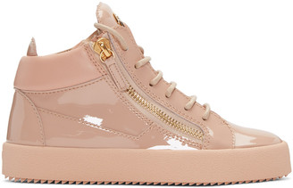 Giuseppe Zanotti Pink Patent London High-Top Sneakers $745 thestylecure.com