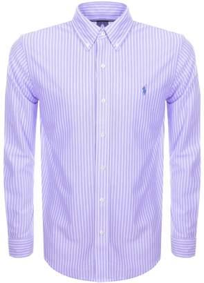 Ralph Lauren Striped Knit Oxford Mesh Shirt Purple