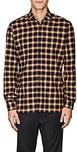 Lanvin Men's Plaid Cotton Flannel Shirt - Orange