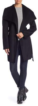 Tahari Shawl Collar Open Front Wool Blend Coat