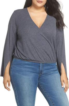 BP Ribbed Faux Wrap Top