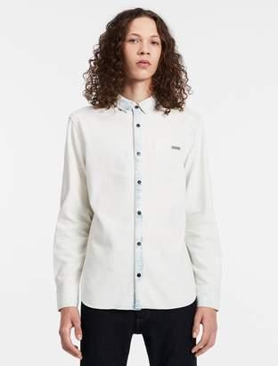 Calvin Klein fitted bleached denim shirt