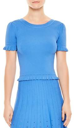 Sandro Quincy Ruffled Eyelet-Detail Sweater
