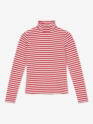 Miss Selfridge Stripe Ribbed Polo Top - Red
