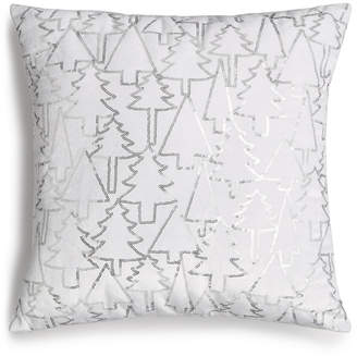 "Holiday Lane Silver Sequin Tree 16"" Square Decorative Pillow, Created for Macy's"