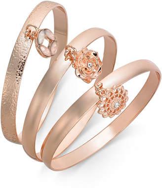 INC International Concepts I.N.C. 3-Pc. Set Crystal Charm Bangle Bracelets, Created for Macy's