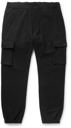 Neighborhood Black Tapered Wool-blend Flannel Cargo Trousers - Black