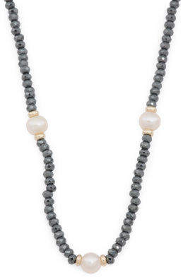 14k Gold Hematite And Pearl Necklace