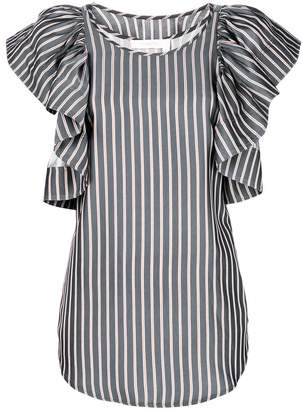 See by Chloe ruffle-sleeve striped blouse