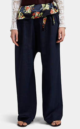 Paco Rabanne Women's Floral Satin-Trimmed Pinstriped Wool Trousers - Navy