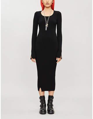 Isabel Benenato Ribbed-knit wool-blend midi dress