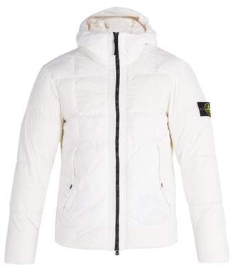 Stone Island Hooded Down Quilted Jacket - Mens - White