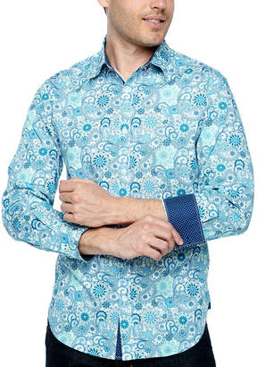 SOCIETY OF THREADS Society Of Threads Long Sleeve Paisley Button-Front Shirt