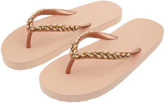 cdf60751fe5 Accessorize Rose Gold Beaded EVA Flip Flops