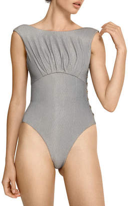 f2bf1581ddb2d Ophelia Amaio Swim High-Cut Button Maillot One-Piece Swimsuit