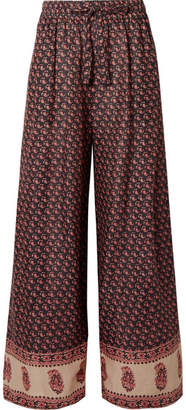 Zimmermann Jaya Printed Linen Pants - Burgundy