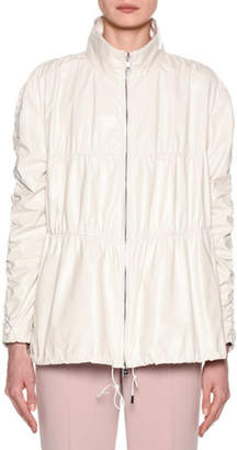 Giorgio Armani Quilted Ruched-Leather Anorak Jacket
