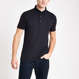 River Island Mens Navy muscle fit textured polo shirt