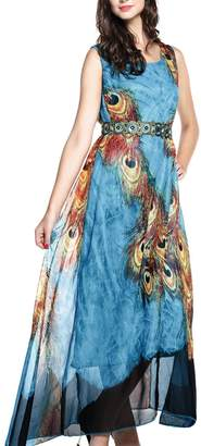 Bohemia Wantdo Women's Summer Sleeveless Floor Length Printed Maxi Dress